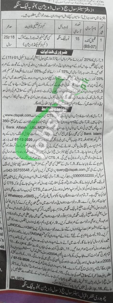 Civil Court Toba Tek Singh Jobs
