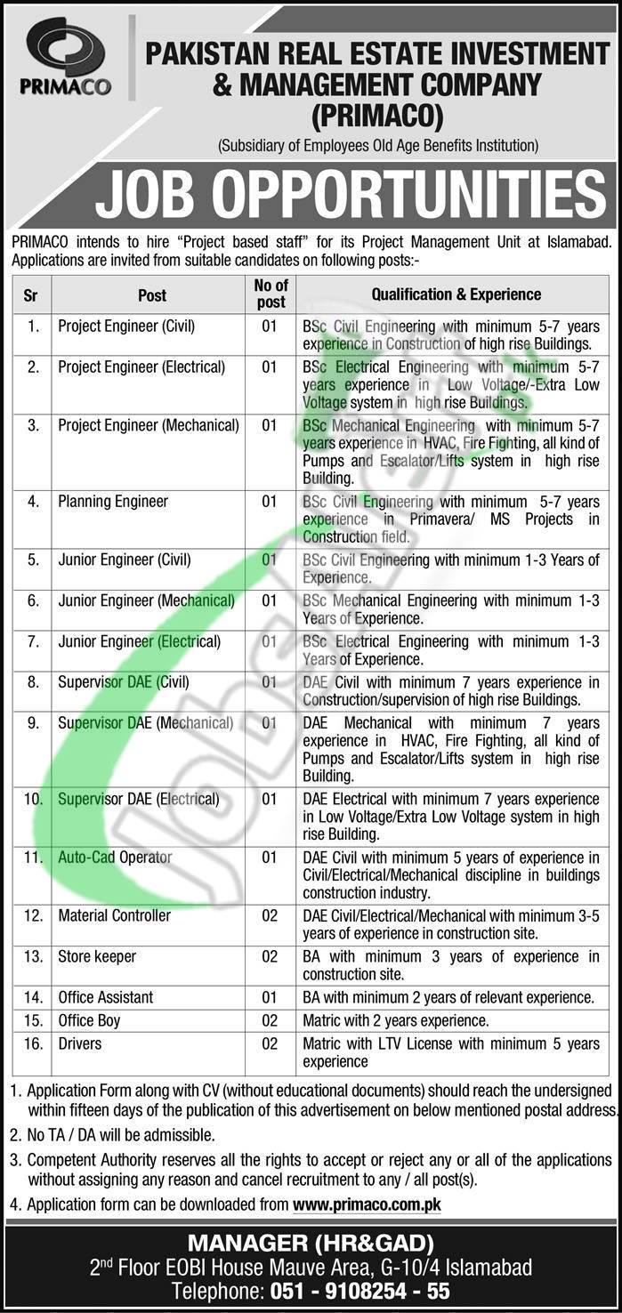 Pakistan Real Estate Management Company Jobs 2019