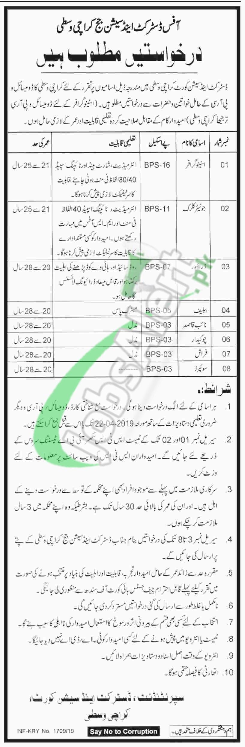 Session Court Karachi Central Jobs 2019