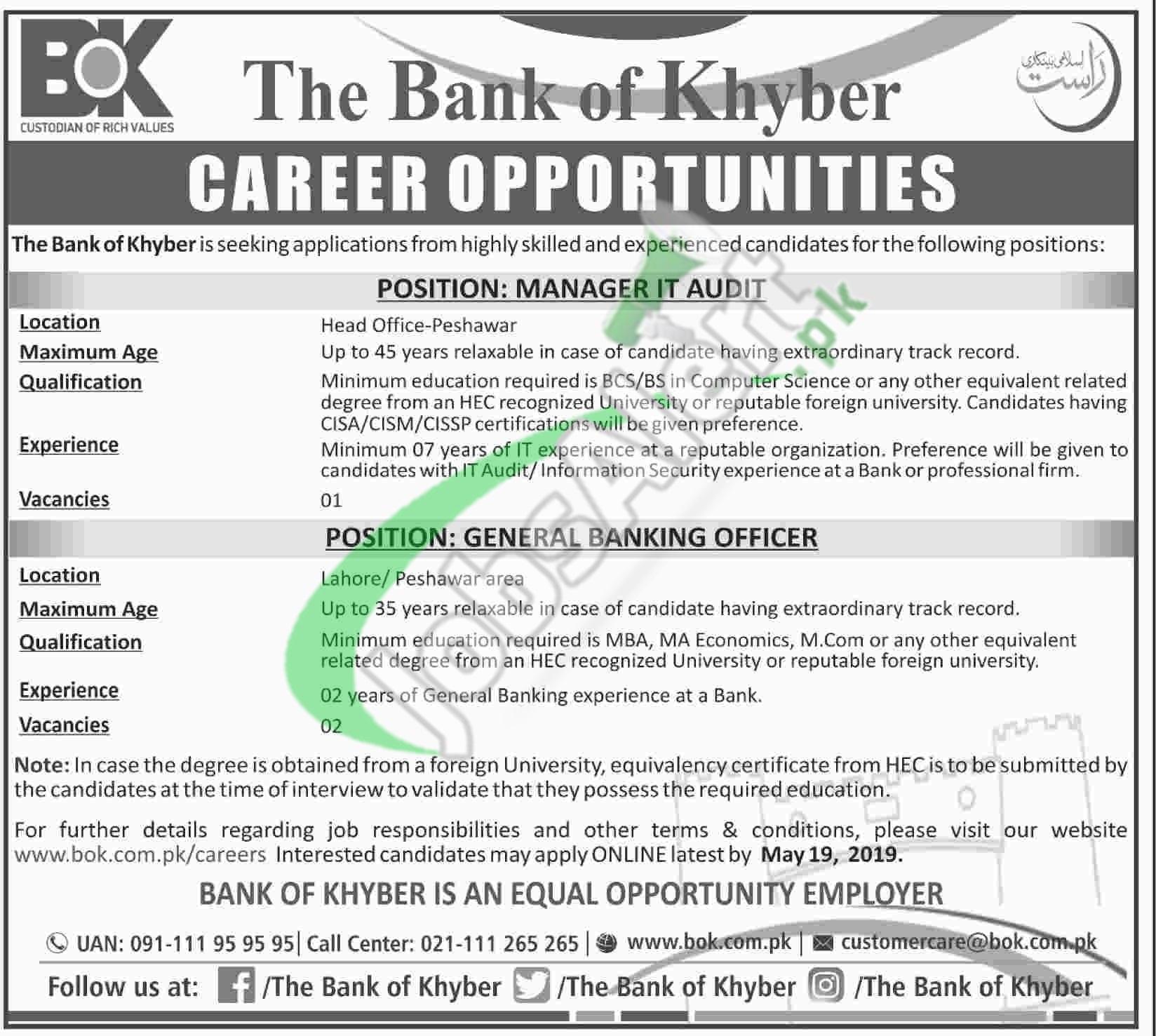 Bank of Khyber Jobs 2019