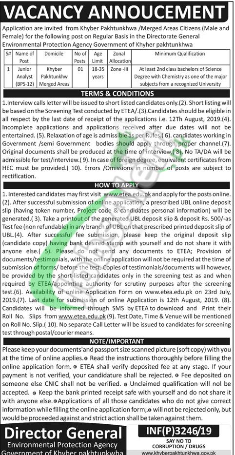 Environmental Protection Agency KPK Jobs 2019