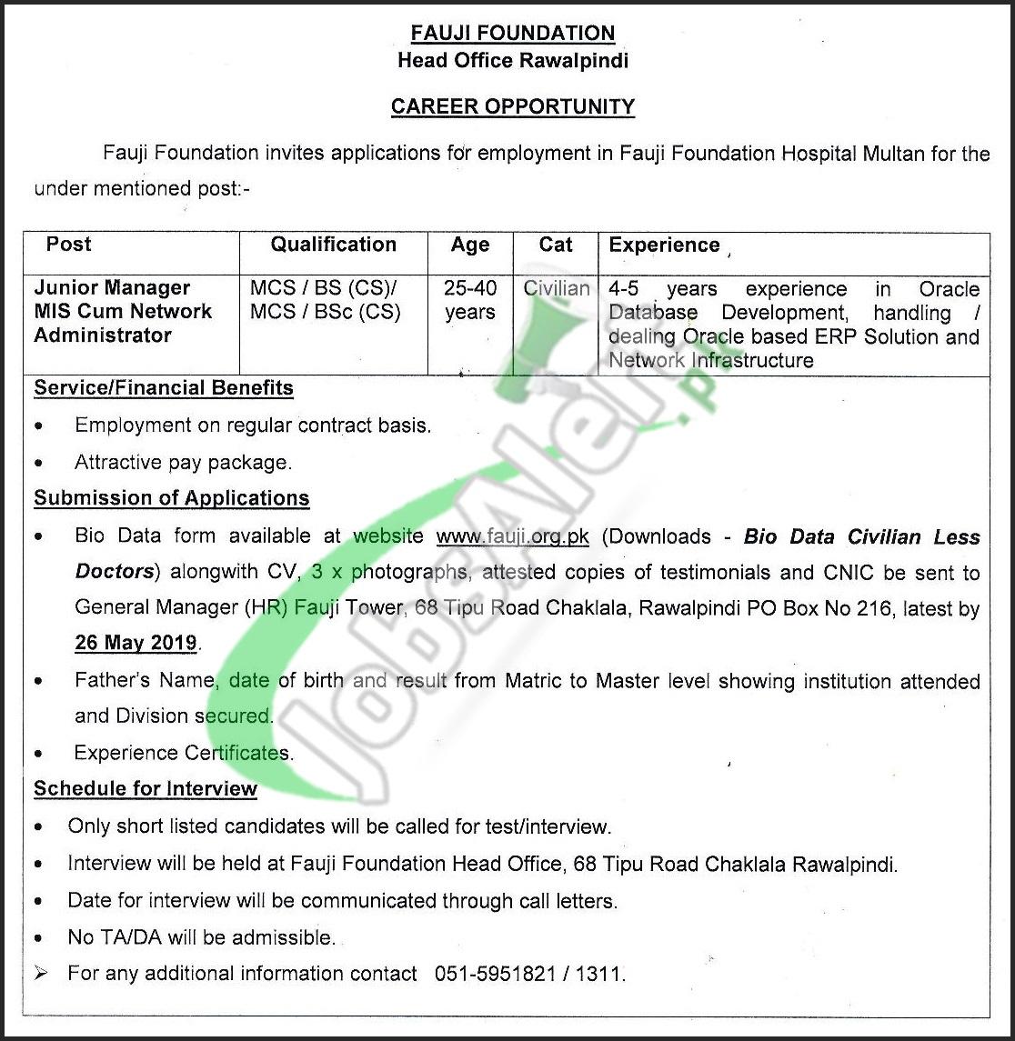 Fauji Foundation Hospital Multan Jobs