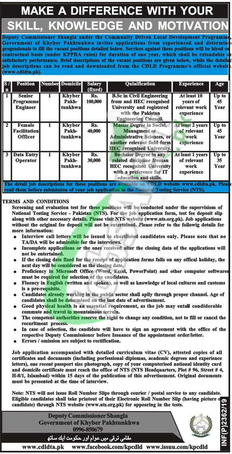 Deputy Commissioner Office Shangla Jobs 2019