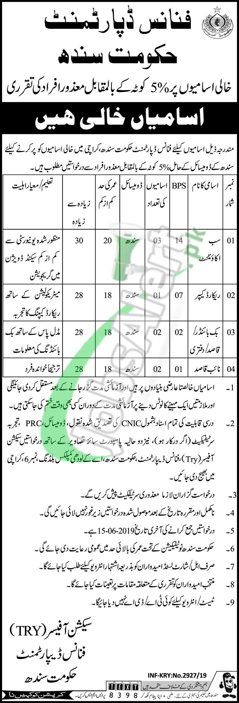 Finance Department Sindh Jobs