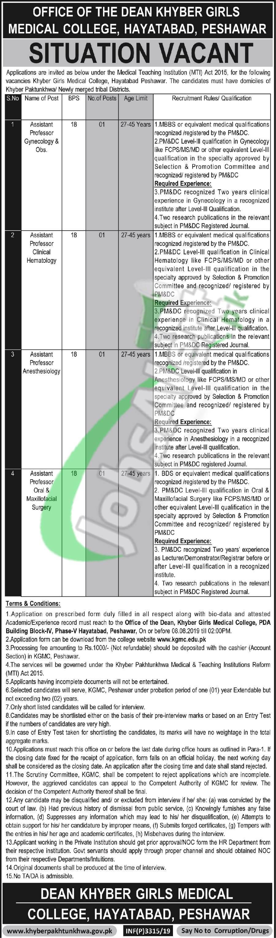 KGMC Peshawar Jobs