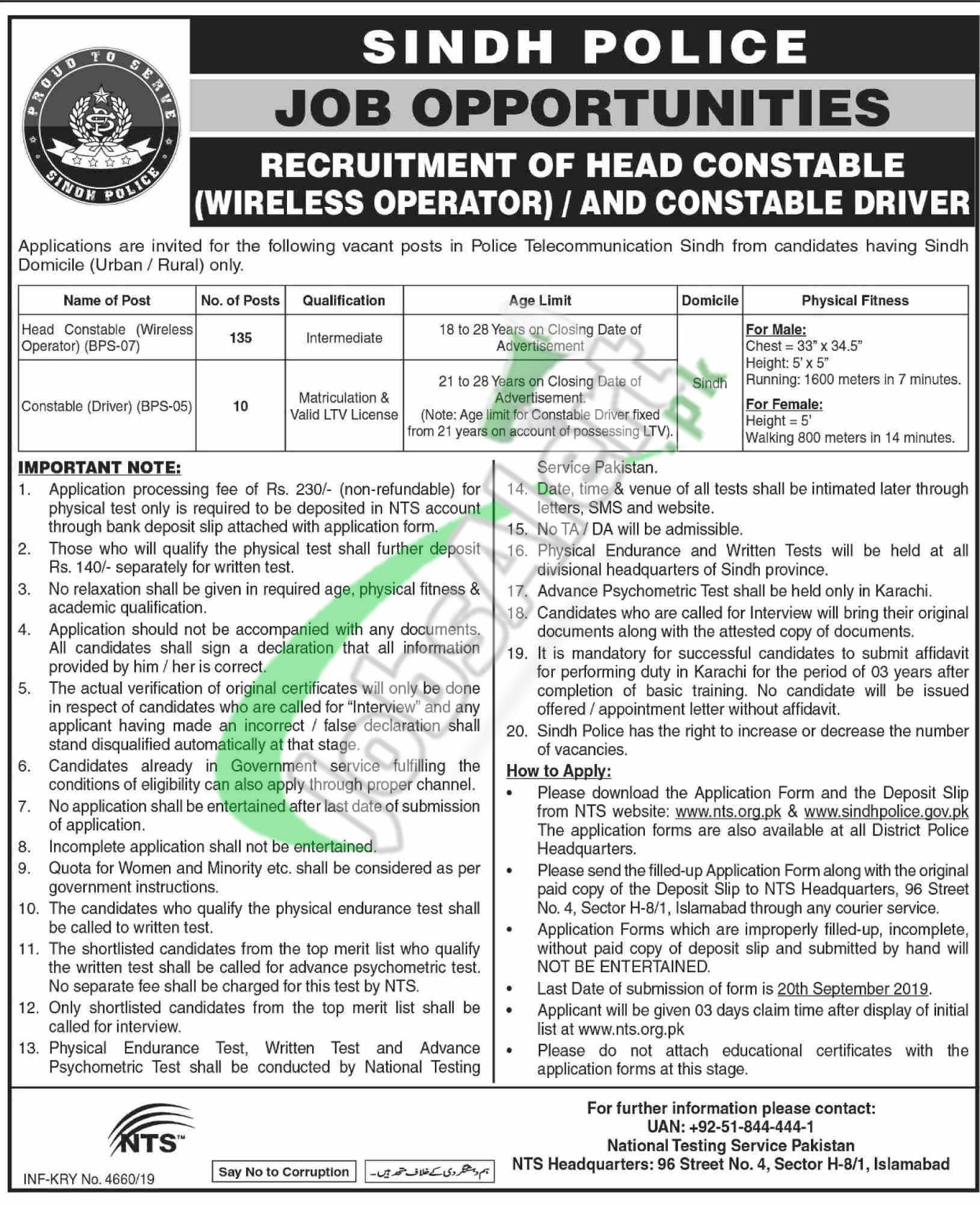 Sindh Police Jobs 2019 Constable Wireless Operator NTS Form