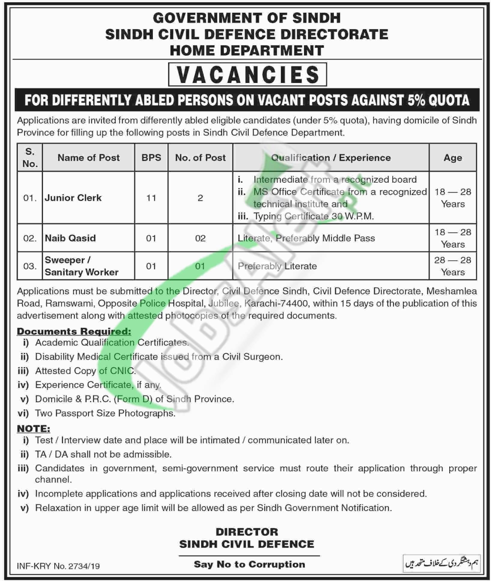 Civil Defence Sindh Jobs