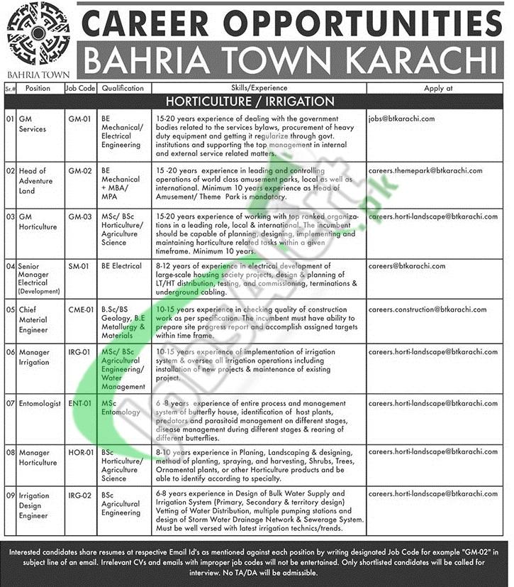 Bahria Town Jobs 2019