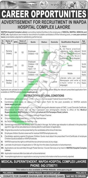 WAPDA Hospital Lahore Jobs