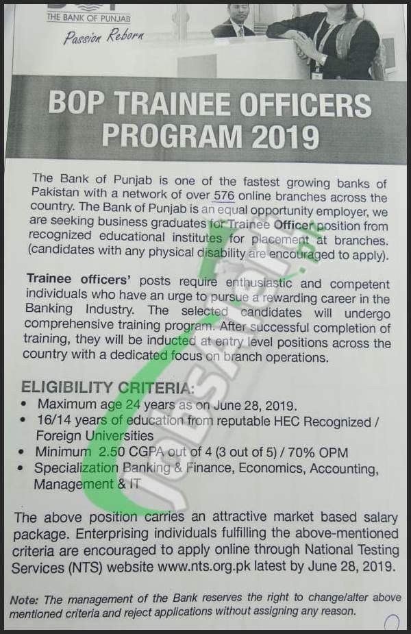 Bank Of Punjab Bop Cash Officer Jobs 2019 Apply Online Last Date