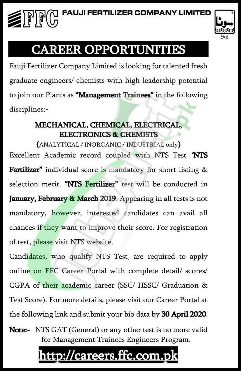 Fauji Fertilizer Company Limited Career Opportunities