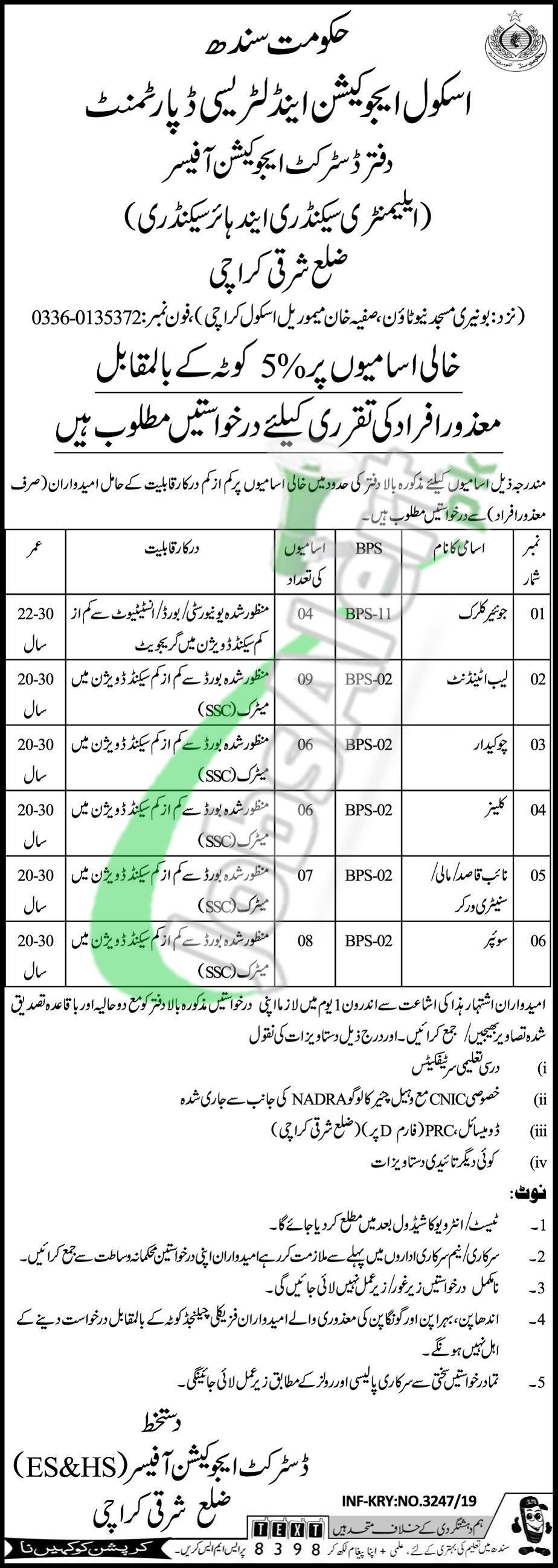 Education & Literacy Department Sindh Jobs