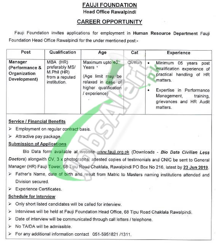 Fauji Foundation Head Office Rawalpindi Jobs 2019