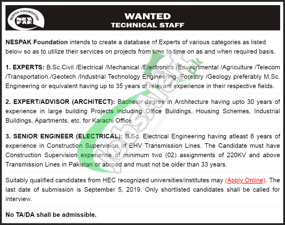 NESPAK Foundation Lahore Jobs