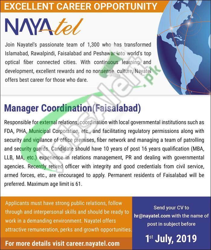Nayatel Faisalabad Jobs