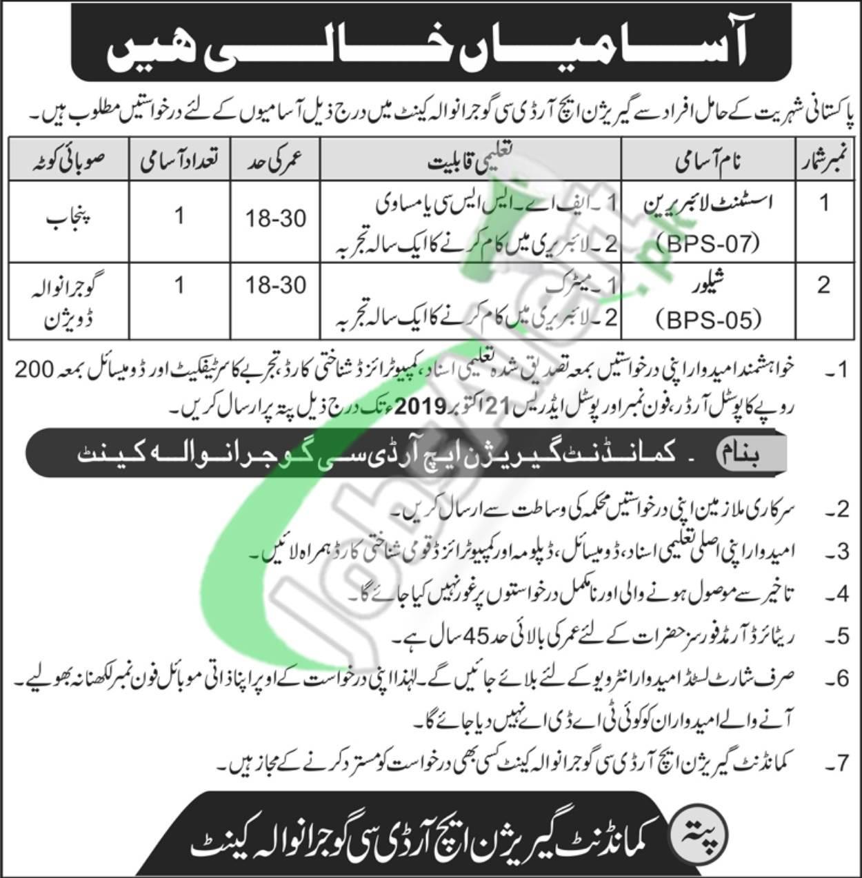 Garrison HRDC Gujranwala Cantt Jobs