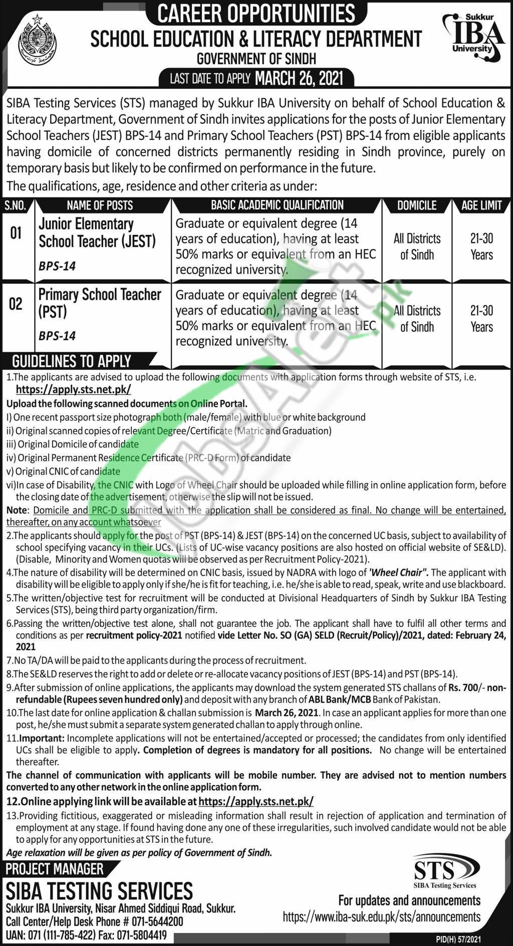 School Education & Literacy Department Sindh Jobs