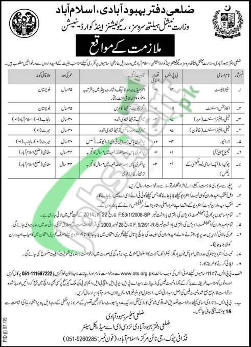 Population Welfare Department Islamabad Jobs