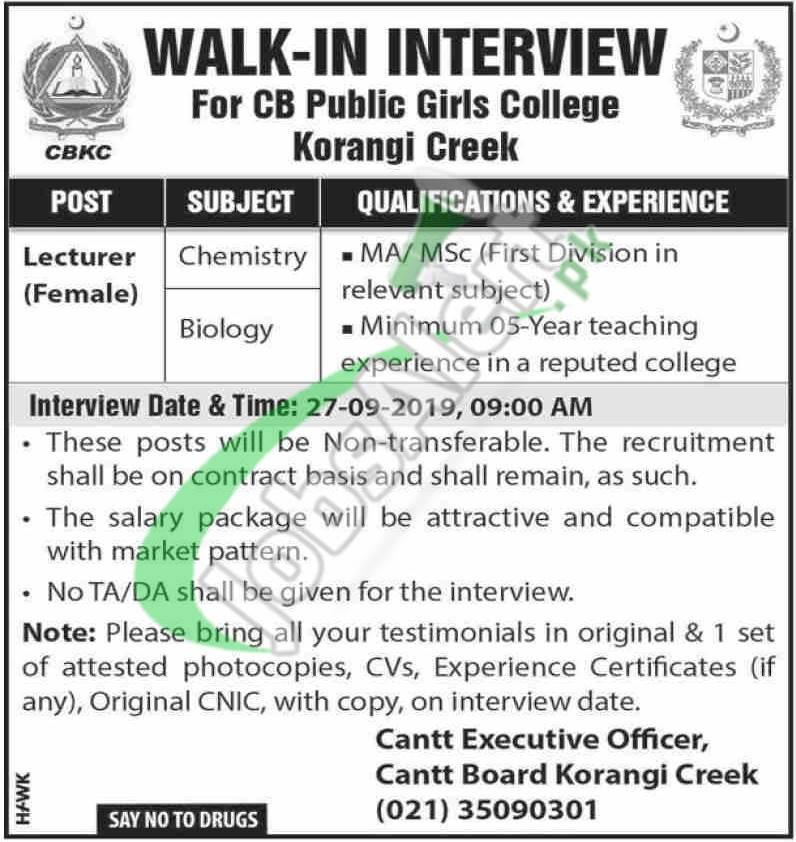 Cantonment Board Korangi Creek Jobs