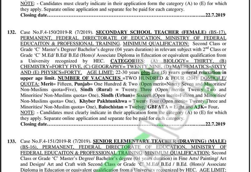 FPSC Jobs 2019 – Advertisement No  07/2019 Apply Online Last Date