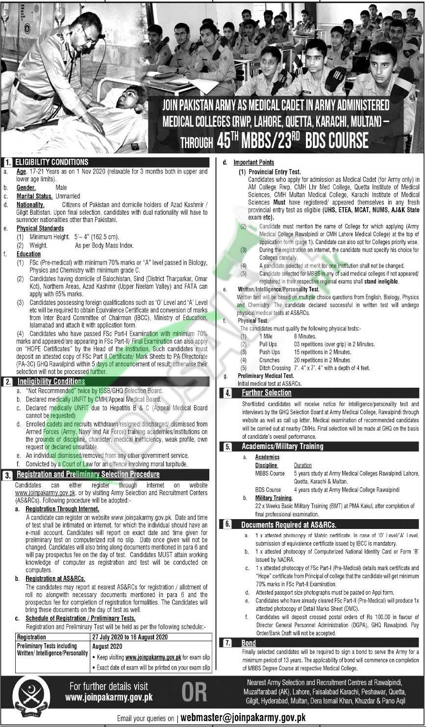 Join Pak Army as Medical Cadet 2020