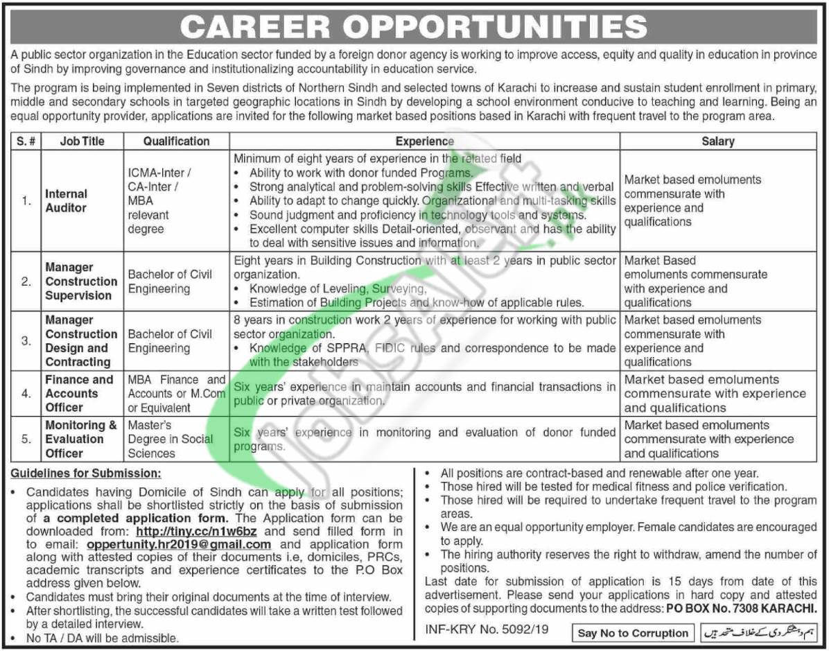 PO Box 7308 Karachi Jobs