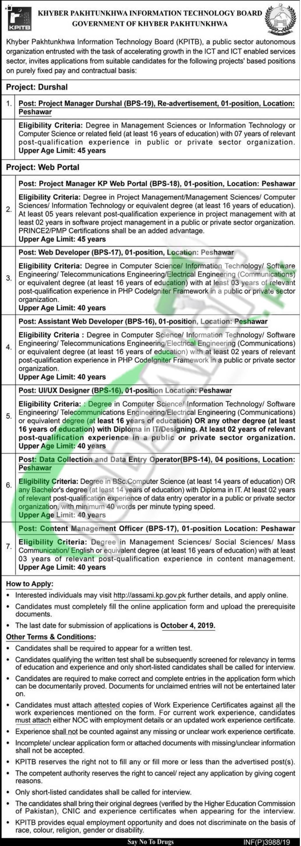 www.kpitb.gov.pk Jobs 2019