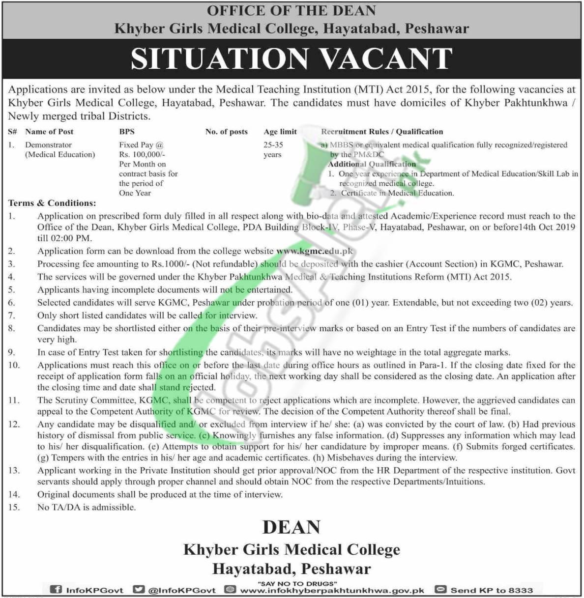 Khyber Girls Medical College Peshawar Jobs 2019