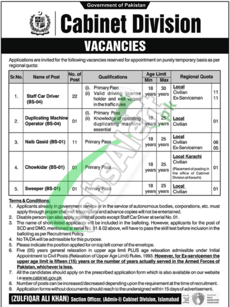 Government of Pakistan Cabinet Division Vacancies