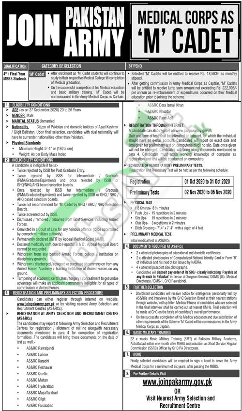 Join Pak Army as M Medical Cadet 2020