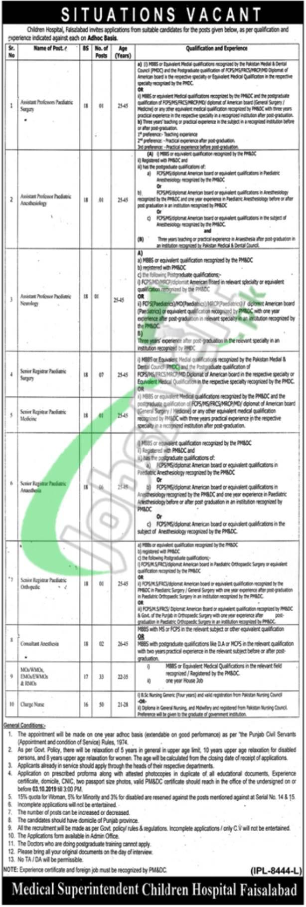 Children Hospital & Institute of Child Health Faisalabad Jobs 2019