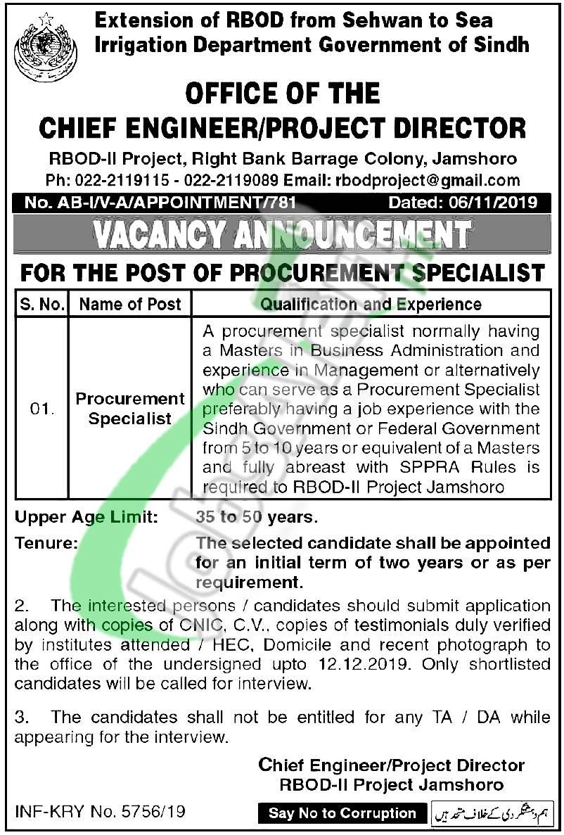 Apply in Irrigation Department Jobs 2019