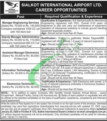 Sialkot International Airport Ltd. Career Opportunities
