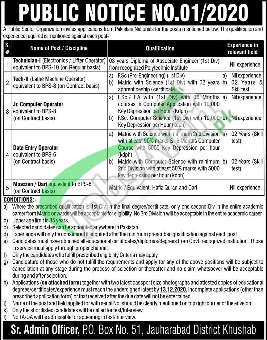 Atomic Energy PO Box 51 Jauharabad Jobs