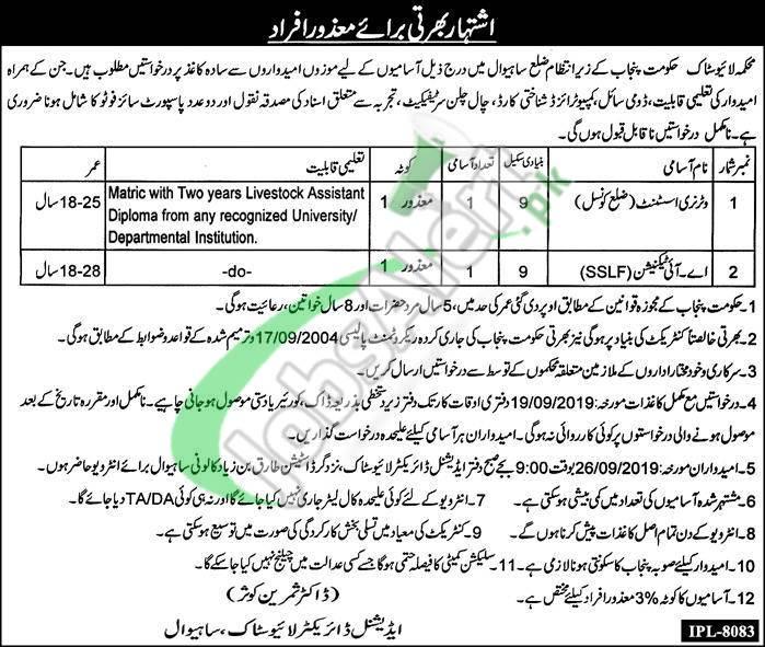Livestock Department Punjab Jobs