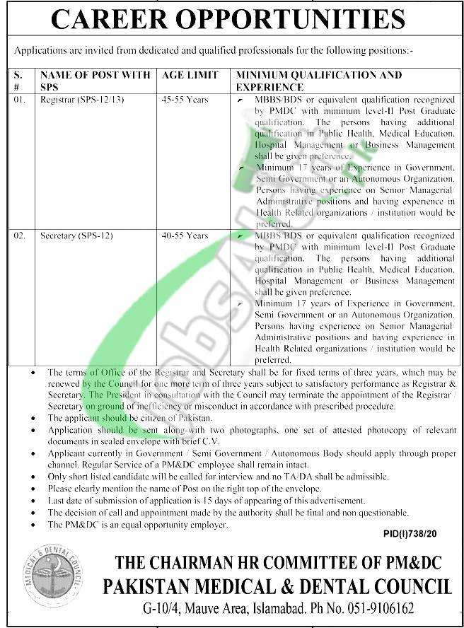 Pakistan Medical & Dental Council Jobs