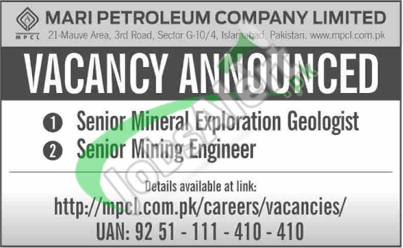 Mari Petroleum Company Limited MPCL Jobs 2019