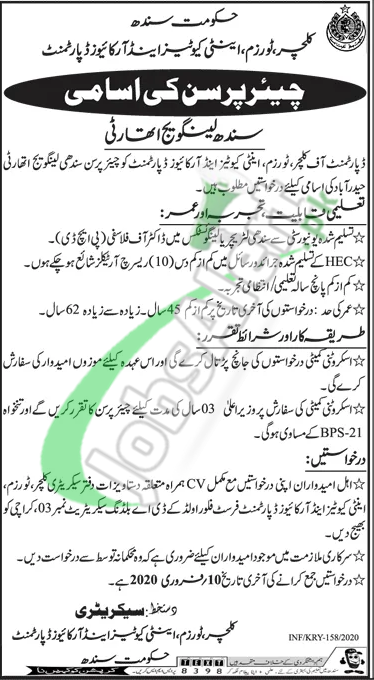 Culture Tourism & Antiquities Department Sindh Jobs