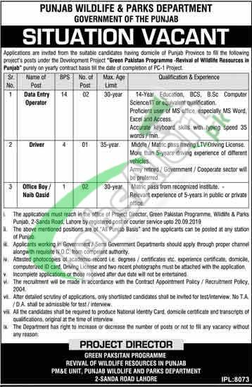 Punjab Wildlife Department Jobs
