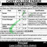 Cadet College Pasrur Jobs