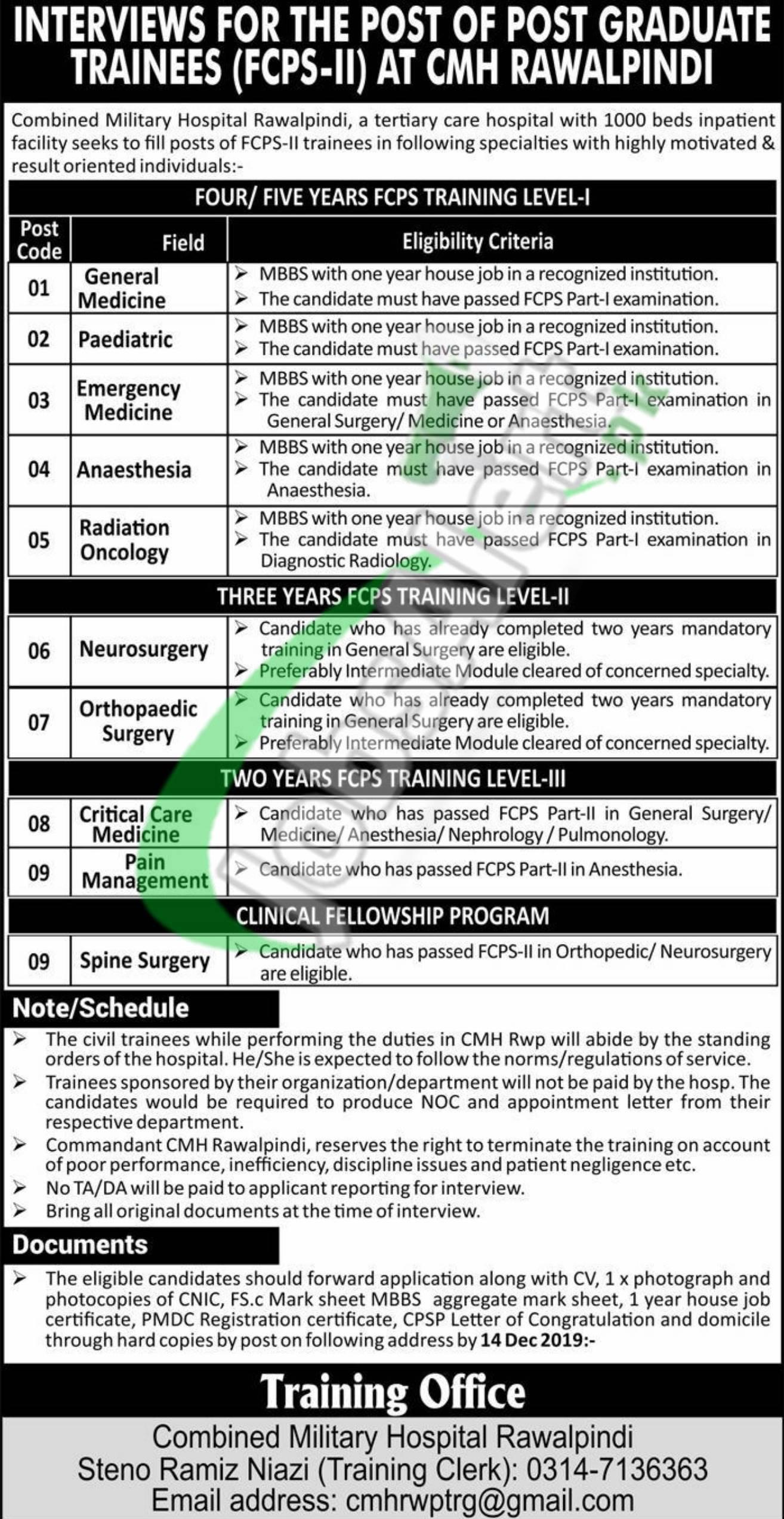 Combined Military Hospital CMH Rawalpindi Jobs