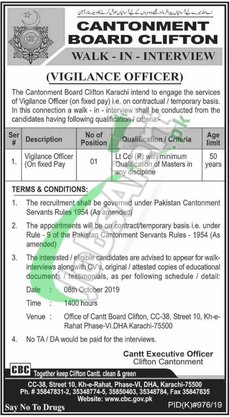 Cantonment Board Clifton Karachi Jobs
