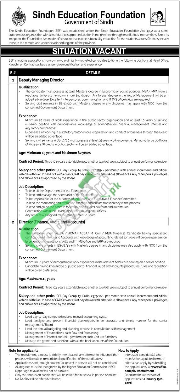 Sindh Education Foundation Jobs