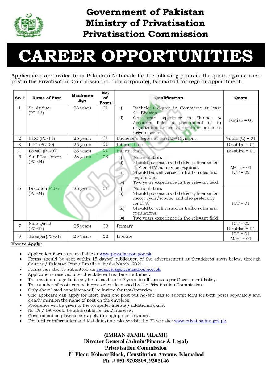 Ministry of Privatization Jobs