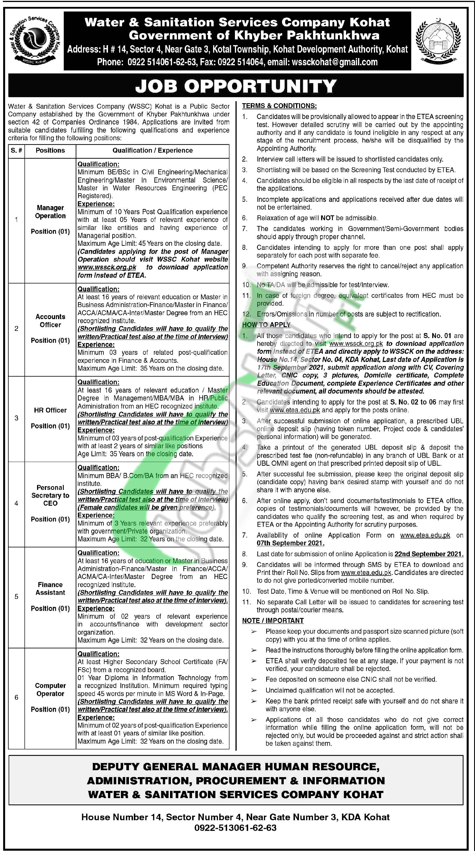 Water & Sanitation Services Company Kohat Jobs