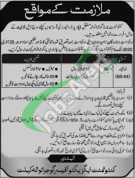 Job Opportunity Cantonment Board Gujranwala