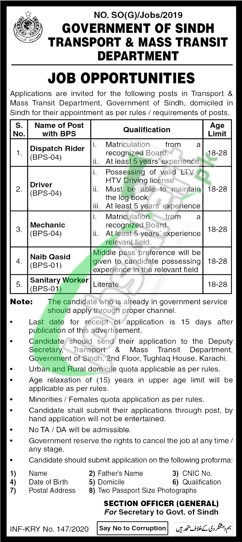 Government of Sindh Transport & Mass Transit Department Job Opportunities