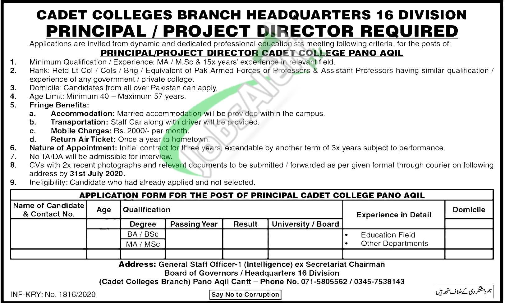 Cadet College Pano Aqil Jobs 2020