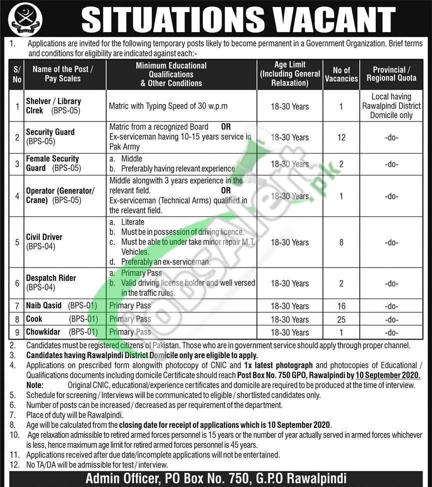 PO Box 750 GPO Rawalpindi Jobs 2020