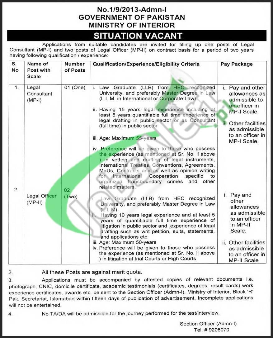 Ministry of Interior Pakistan Jobs